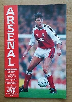 Arsenal vs Manchester United 1991/1992 Division One Programme 91/92