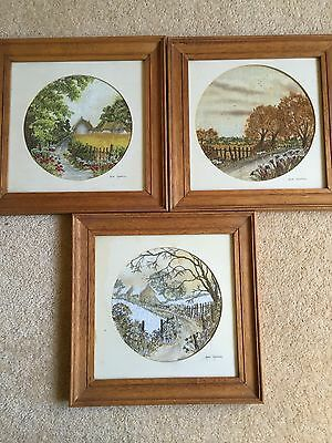 Anne Harrison Trio HAND PAINTED & EMBROIDERED ENGLISH Season Scenes Framed