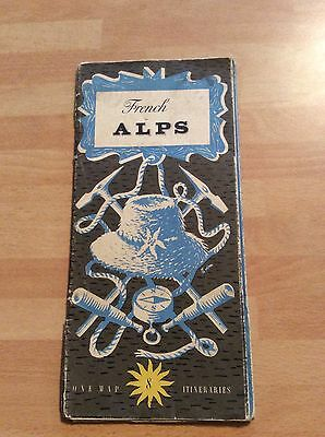 VINTAGE MAP - FRENCH ALPS - PUBLISHED BY FRENCH TOURISM in ENGLISH - RARE