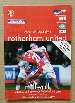 Rotherham United vs Millwall 2000/2001 League Division 2 Programme