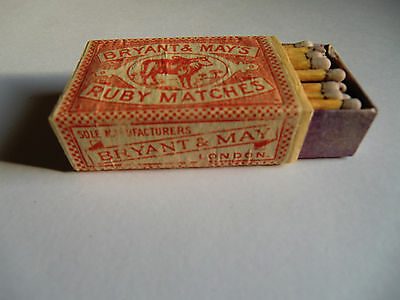 Boite d'allumettes Ancienne Bryant & May's Ruby Matches Matchbox cajas Cerillas