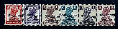 Pay 1/2 Marked Price,1949 Gwalior, Sg132-137 Cat £1134 Kgvi India,states
