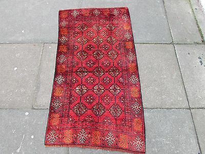 Old Traditional Hand Made Persian Wool Red Oriental Turkoman Small Rug 126x70cm