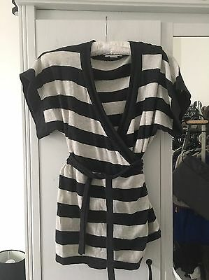 Mamas And Papas Maternity Striped Wrap Cardigan 8 10 Wool And Cotton