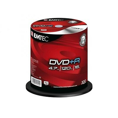 Pack de 100 DVD+R 4.7 GB 16x Speed EMTEC