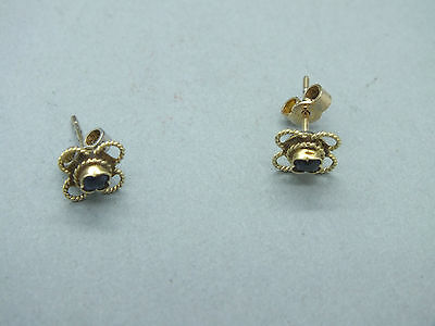 Pair of Late Victorian 9ct Gold Sapphire Ear Studs c1890