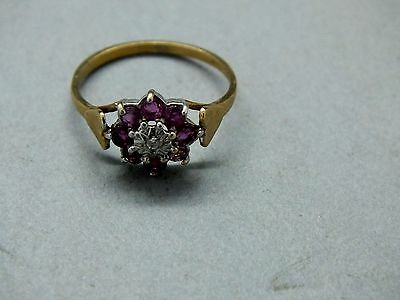 1980's 9ct Gold Ruby & Diamond Floral Cluster Ring with 'Heart' Shoulders