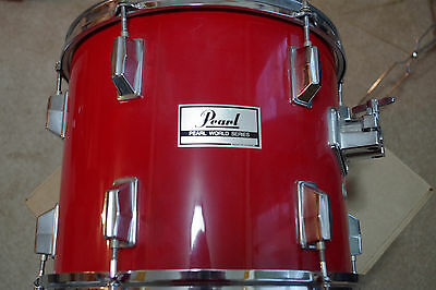 """Pearl World Series WLX 12"""" Tom in Coral Red Lacquer 10""""x12"""" 1980s Coffin Lugs"""