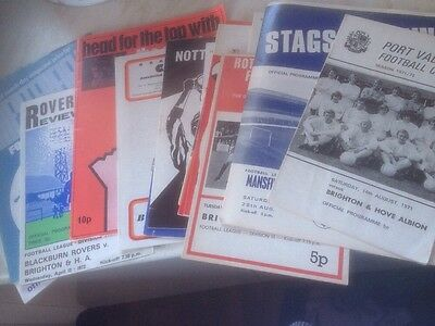 Brighton Away Programmes 1971/72 x 17 Promotion Season.