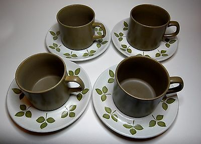 Four Retro MAIDSTONE Stoneware Cups and Saucers by J & G Meakin, Hanley, England