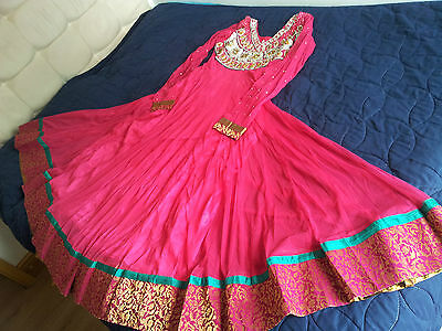 anarkali designer bollywood salwar kameez fully stitched dress size 6/8