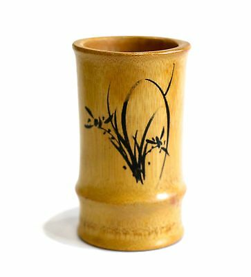 Chinese Bamboo Wooden Brush Pot Vase Hand Painted Floral & Chinese Symbols