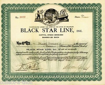 ONLY ORIG BLACK STAR LINE STOCK CERT on EBAY! SIGNED BY MARCUS GARVEY! PRICELESS