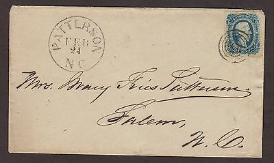 Confederate: Patterson, North Carolina CSA 10c Davis Cover to Salem, NC