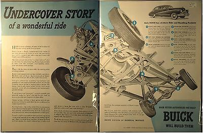 1947 Buick Ad 2 pages Undercover Story Husky X-Braced Frame Rigid torque tube