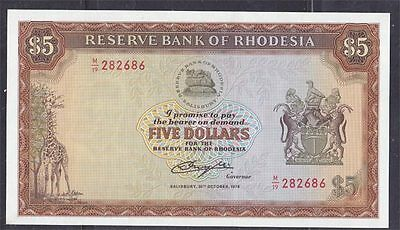 RHODESIA 1978 $5 20th OCTOBER BANKNOTE  UNCIRCULATED