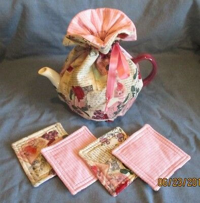 Valentine Tea Cozy & Matching Coaster Set - Love Letters