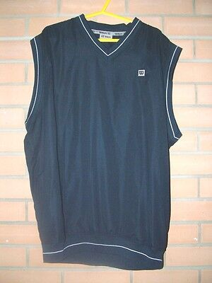 Wilson golf mens blue sleeveless tank top windcheater, size L,chest 46 inches