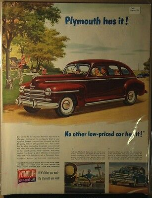 1947 Plymouth ad Plymouth Has it
