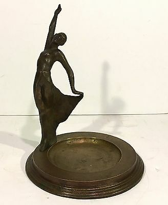 Antique 1920's ART DECO Figural Bronze Ashtray w/ DANCING GIRL