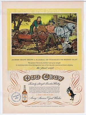 Old Crow Kentucky Bourbon Whiskey Vintage Original 1951 Illustrated Print Ad
