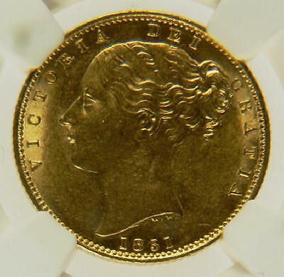 1851 AUNC British Queen Victoria Gold Sovereign Coin NGC MS62 CGS 75