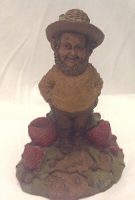 Tom Clark Gnome Shorty #63 Cairn 1984 Figurine Strawberry Patch Hand Signed Gc