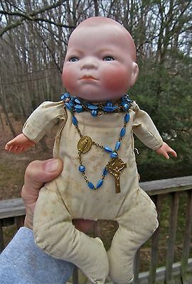 Antique Bisque Bye-Lo Baby Doll Grace S. Putnam Crier Cloth Body German Rosary