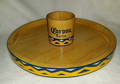 "Large Corona Extra Beer Wooden Serving Tray 12"" Mexico Bar Man Cave Decor"