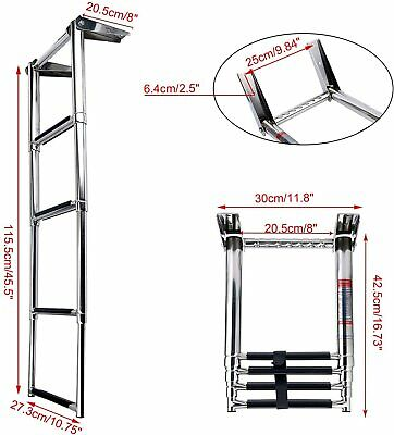 NICE 4 Steps Telescoping Marine Boat Ladder Stainless with Built in Handle-EAM