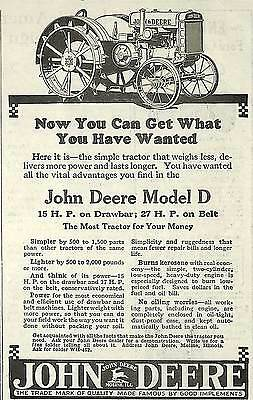 1925 John Deere Model D Tractor 15 Hp Drawbar & 27 Hp Belt Ad Advertisement