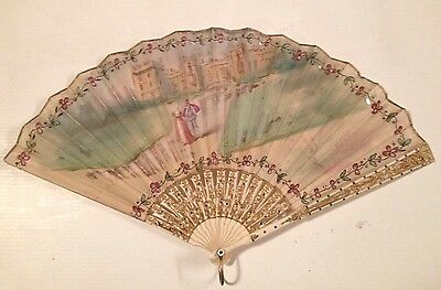 Antique Silk Hand Painted Fan