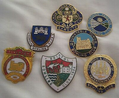 Collection of vintage enamel BOWLING CLUB PIN BADGES