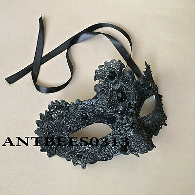 Venetian Black Brocade Lace Masquerade Costume Ball Prom Wedding Party Mask