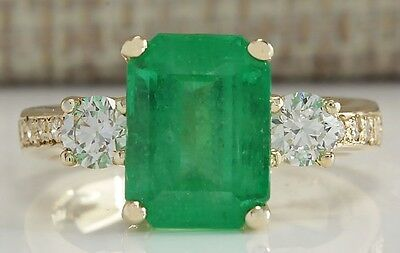 4.70Ctw Natural Colombian Emerald And Diamond Ring 14K Solid Yellow Gold