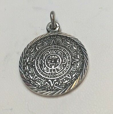 Mexico Sterling Silver Mayan Calendar Round Pendant 6 Gr