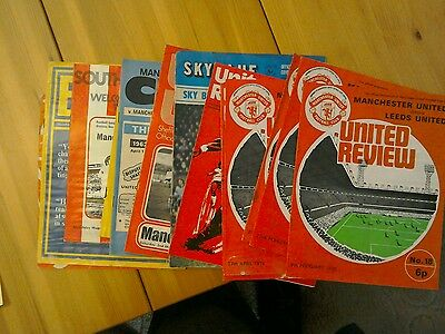 Manchester United 1973-74  job lot of 13 Home and away programmes