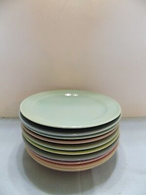 "Luray Pastel 11 DESSERT PLATES  6 1/4"""" PINK  BLUE  GREEN YELLOW (R2-6)"