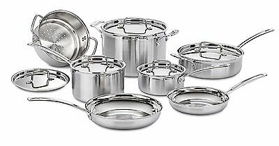 CUISINART STAINLESS STEEL COOKWARE SET Multiclad 12-Piece Pots Pans Cooking NEW