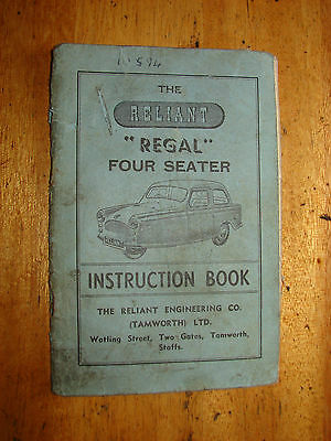 The Reliant Regal 4 Seater Instruction Book Vintage Car Manual