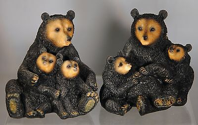 Black Bear Figurines Mom And Two Cubs - Set Of Two - New
