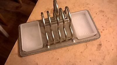 Heavy Quality Vintage Silver Plate? 4 Slice Toast Rack With Jam and Butter Dish