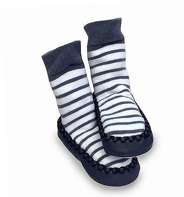 Mocc Ons Cute Moccasin Style Leather Sole Slipper Socks 12-18m, Nautical Stripe