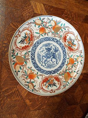 Antique Vintage Imari Charger With Fish & Gold Gilding Nr