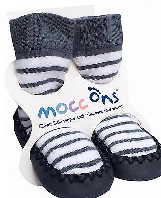 Mocc Ons Moccasin Leather sole Slipper Socks - Nautical Stripe, 18-24 Months