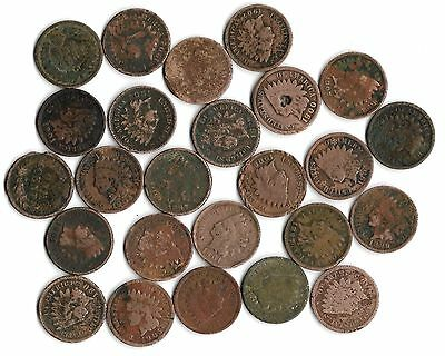 Rare Very Old Antique Indian Head Penny American US Coin Collection Money 25 Lot