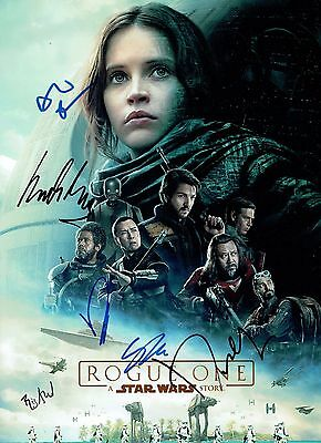 STAR WARS ROGUE ONE Autographed CAST SIGNED By 6 - Large 16x12 inch Photo AFTAL