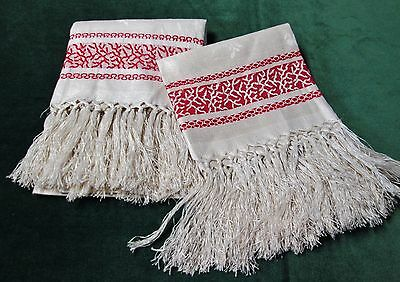 Antique 2 Linen Damask Fringed Show Towels Turkey Red Bands SEA CORAL & Sprigs