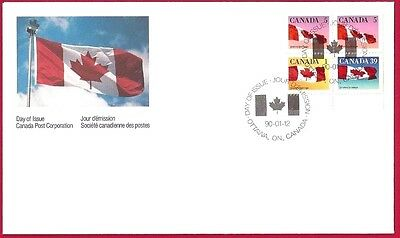 Canada  FDC  # 1189A    CANADIAN FLAGS   1990  50c    New & Unaddressed