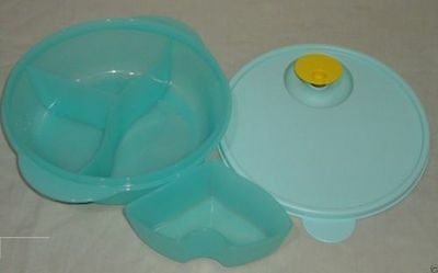 Tupperware Crystalwave Divided Dish with Cold Portion - Blue Free Shipping USA
